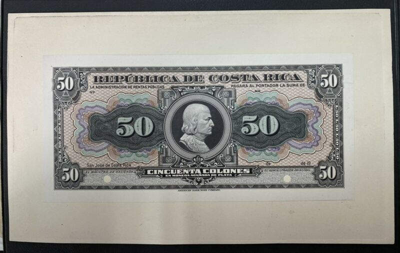 Costa Rica Banknote Proof  Front Back P 150