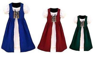 GIRLS RENAISSANCE HALLOWEEN BELLE PRINCESS PILGRIM COSTUME GOWN IRISH OVERDRESS