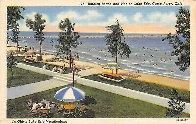 Camp Perry Ohio 1943 WWII Postcard Bathing Beach And Pier On Lake Erie