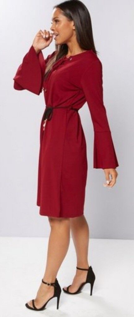 cf78eef8974 Ladies Burgundy Tie Dress Size 14 BNWT