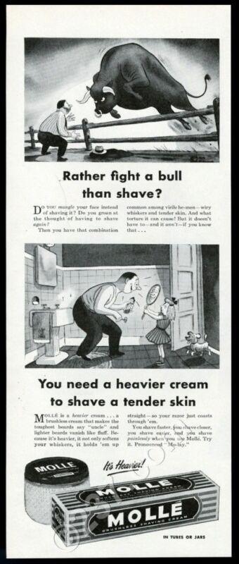1946 Charles Addams bull art Molle shaving cream vintage print ad