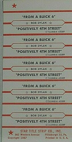 "JUKEBOX TITLE STRIP SHEET - BOB DYLAN ""Positively 4th Street"" Columbia 43389"