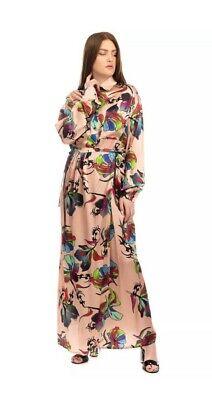 AREA BY BARBARA BOLOGNA SILK SATIN MAXI SHIRT DRESS ONE SIZE