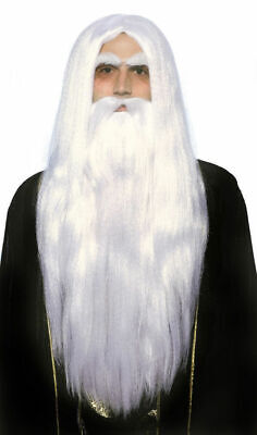 Merlin Magician Wig Beard Set Father Time White Wizard Men's Costume