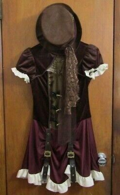 EUC Girls Youth 10-12 Steampunk Dress Hat 2 Piece Halloween Costume Steam Punk