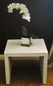 White Matte Distressed Square Side/ End/Occasional/Coffee Table.