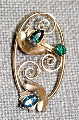 VINTAGE GORGEOUS GOLD TONE GREEN EMERALD COLOR FLORAL PIN BROOCH Emerald Floral Brooch