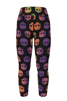 LulaRoe OS Halloween 2020 Skulls Leggings - Black Background - NWT