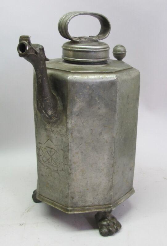 """Rarest 18"""" GERMAN Pewter Blacksmith GUILD Flagon Pitcher  c. 1777  antique stein"""
