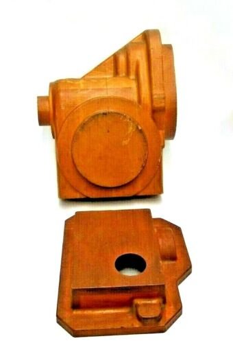 LOT OF 2 MAHOGANY WOOD FOUNDRY CASTING PATTERN SAND MOLD INDUSTRIAL SCULPTURE