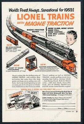 1953 Lionel electric toy train set Magne Action illustrated vintage print ad