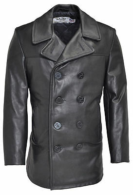 Leather pea coat mens