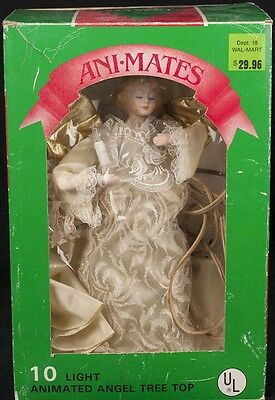 """Animated Light ANGEL Christmas Tree Topper Ornament 12"""" Gold Wings SEE VIDEO"""