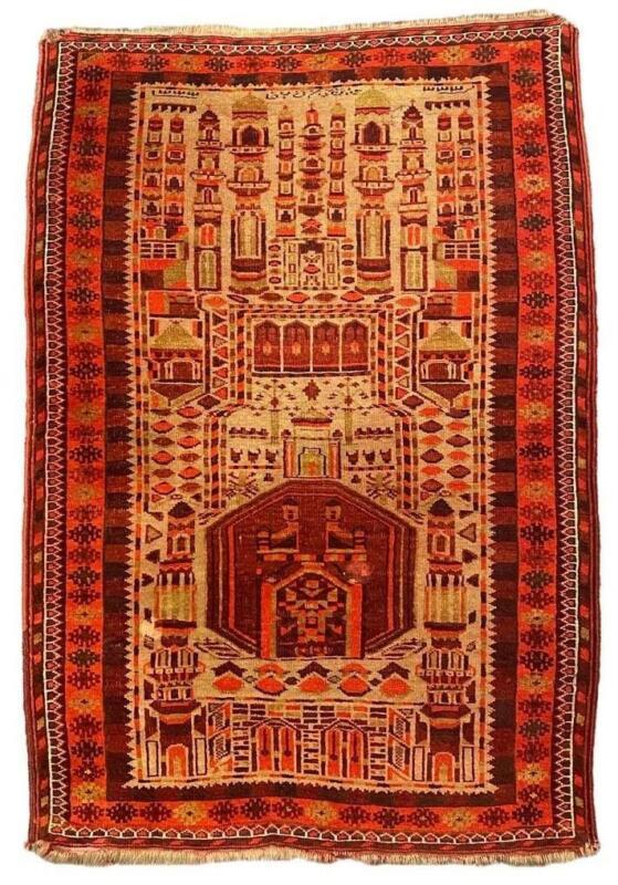 Antique Middle Eastern Signed Mosque Prayer Ersari Turkoman Kizil Ayak Rug 35x55