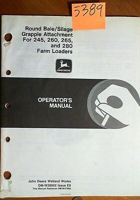John Deere Round Bale Silage Grapple Attachment 245 260 265 280 Loader Manual 88