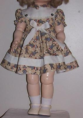 "Cute vintage inspired  22"" Saucy Walker dress, Sock Monkey fabric w/ball trim!"