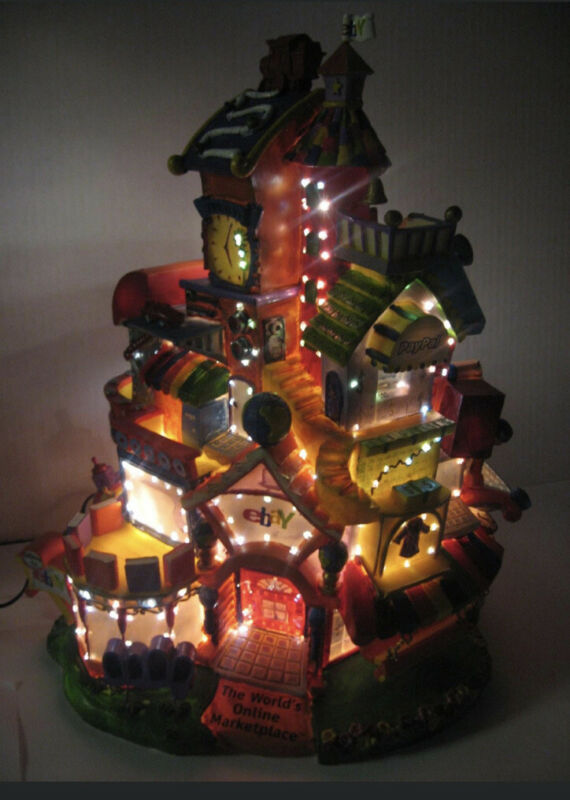 RARE Vintage Ebay Paypal Fiber Optic Lights Up House Limited Ed. Village Piece
