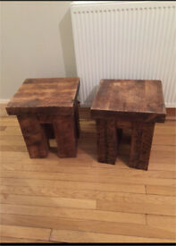 Reclaimed solid oak side tables/stool