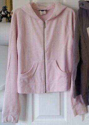 bebe Women Size M Pink Velour Zip Up Hoodie SweatShirt Pink Velour Hoodie