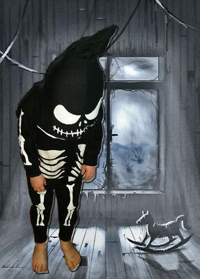 Halloween grim skeleton children's custom made onsie hooded spooky outfit zip - Kids Halloween Customes