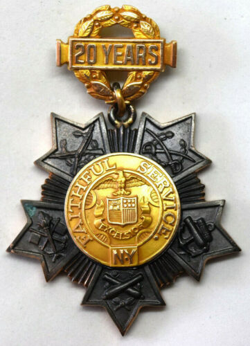 Vintage 10K Gold and Brass 20 Years New York Faithful Service Medal