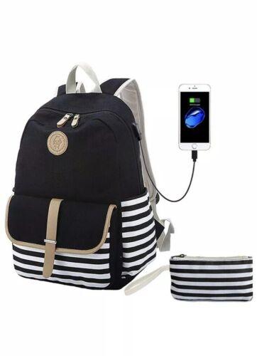 Teens School Backpack Canvas Girls Bookbags with USB Chargin