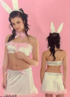New Sexy White Satin Pink Feather Adult Easter Bunny Costume Size L