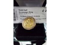 Gold half sovereign ring