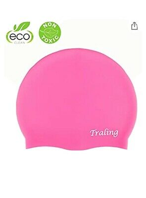 Boys 2 Pack Bathing Cap Blue and Pink Fish Design for Boys Girls HYDRO Kids Swimming Cap High Elastic Silicone Waterproof Swim Hat for Children Girls