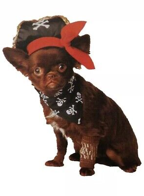 Size XS/S Dog Pet Pirate Halloween Costume Outfit Hat Wooden Leg Sleeve Bandana](Dog Pirate Outfit)