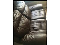 Brown leather recliner sofa x2 DFS