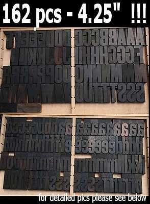 Letterpress Wood Printing Blocks 162 Pcs - 4.25 Tall Alphabet Type Woodtype Abc