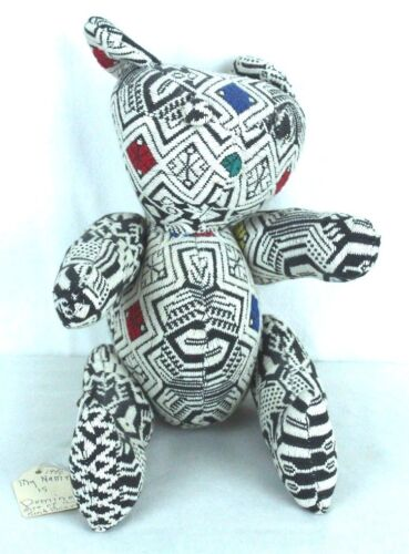 """Handmade Guatemalan Fabric Bear Daisy 1990 Domino Appx 10"""" Seated Button Jointed"""