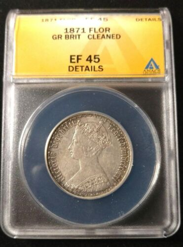 1871 Great Britain Silver 1 Florin Coin - ANACS XF45 Details KM-746.2