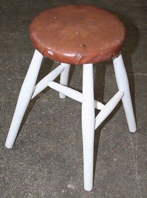 ~Quality ~Antique ~Vintage ~Stool ~Round Top ~Painted ~VGC~