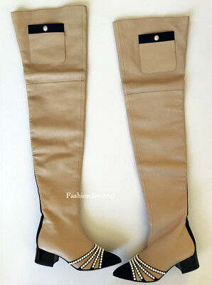 AMAZING 16A CHANEL PARIS ROME  BEIGE BLACK LEATHER PEARL OVER THE KNEE BOOTS 35