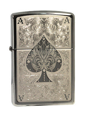 Zippo Lighter 28323  Ace Of Spades Filigree Black Ice Chrome Classic NEW
