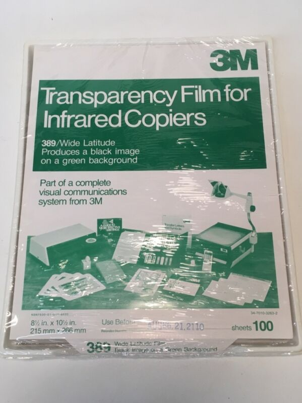 3M 100 SHEETS TRANSPARENCY FILM FOR INFRARED COPIERS 389