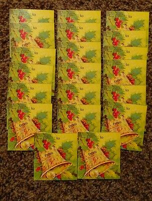 Lot of 20 Vintage Christmas Holiday Gift Tags Gold Bells Holly