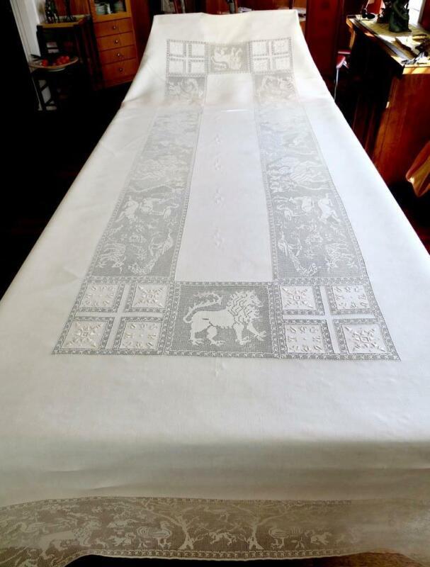 Antique Italian Tablecloth Figural Falcon Hunting FAB Venetian Punto Tirato Lace