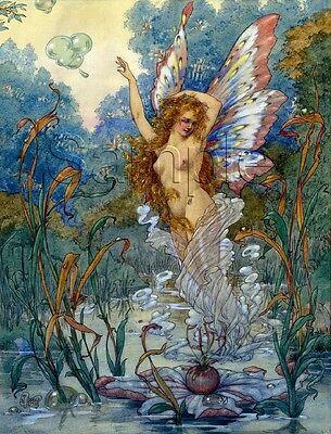 Big Fairy Wings (VINTAGE OCEAN WATER FAIRY WINGS LILLIES SEAWEED BUBBLES CANVAS ART PRINT BIG)