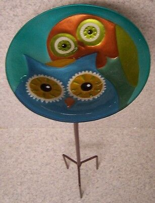 "Bird Feeder Bath Two Owl Glass with metal stand NEW 8"" in diameter"