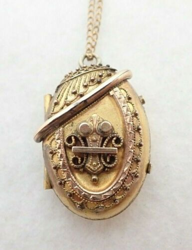 Antique Victorian Etruscan Gold Filled Photo Locket Pendant Necklace