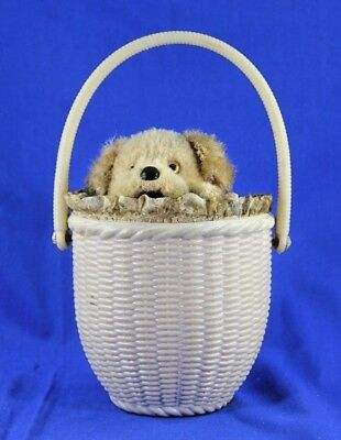 VINTAGE JAPANESE WIND UP BARKING DOG IN PLASTIC BASKET WORKING CONDITION