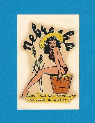 "VINTAGE ORIGINAL 1950 SOUVENIR ""MISS NEBRASKA"" SEXY CHARMER PINUP DECAL ART"
