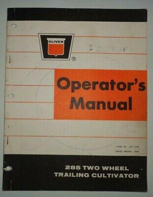 Oliver 285 Two Wheel Trailing Cultivator Operators Manual Original 169