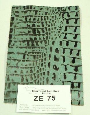 Beautiful Fresh Thyme Green CROC Print Craft Leather Piece 5