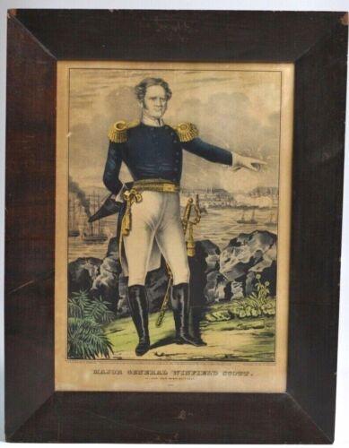 "Original N. Currier Hand-Colored Lithograph ""General Winfield Scott"" Civil War E"