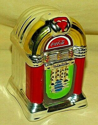 COKE SALT PEPPER SHAKER COCA COLA JUKEBOX 2 PC STOPPERS USED ROCK N ROLL SONG.