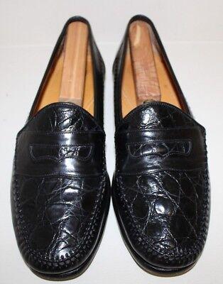 Johnston & Murphy Mens Loafer Shoes Sz 9.5 M Black Croc Print Moc Toe Penny